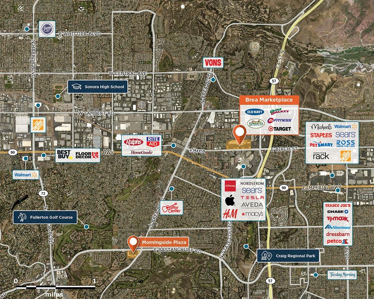 Brea Marketplace Trade Area Map for Brea, CA 92821