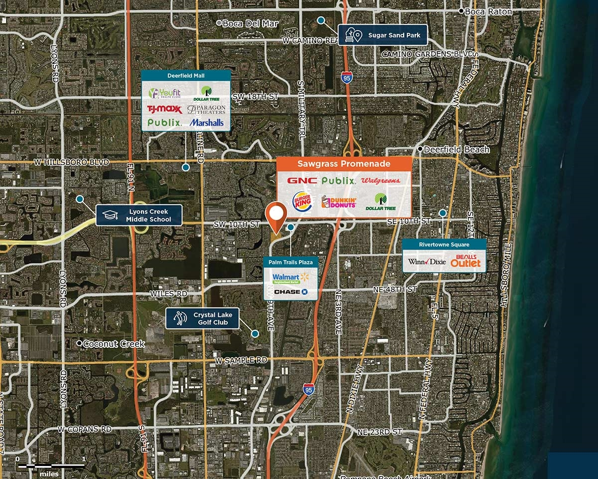 Sawgrass Promenade Trade Area Map for Deerfield Beach, FL 33442