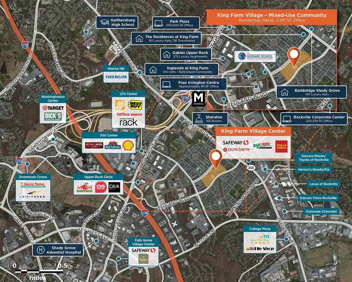 King Farm Village Center Trade Area Map for Rockville, MD 20850