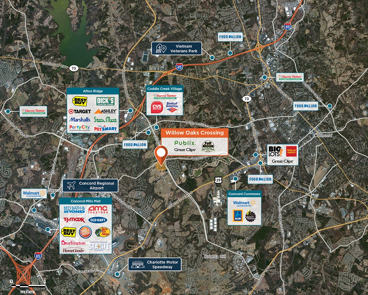 Willow Oaks Crossing Trade Area Map for Concord, NC 28027