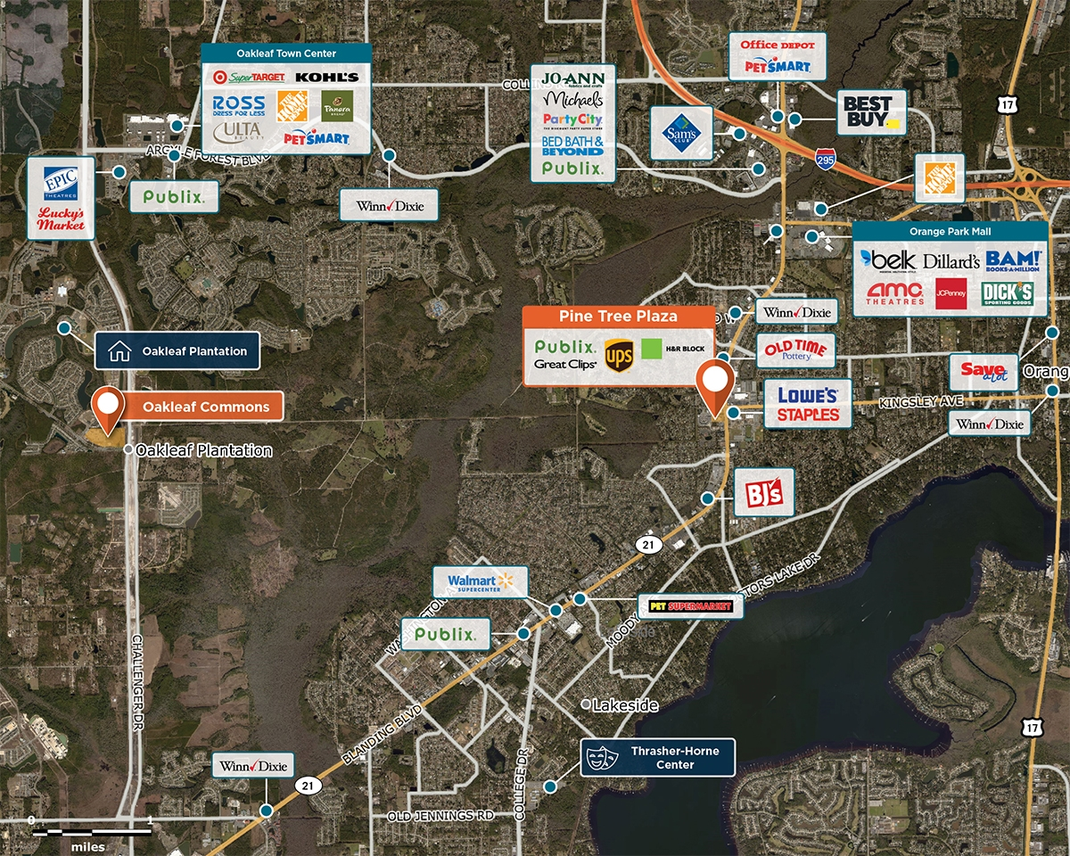 Pine Tree Plaza Trade Area Map for Orange Park, FL 32073
