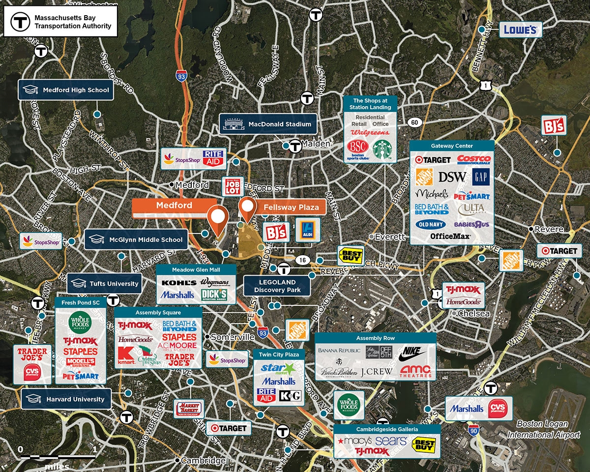 Medford Trade Area Map for Medford, MA 02155