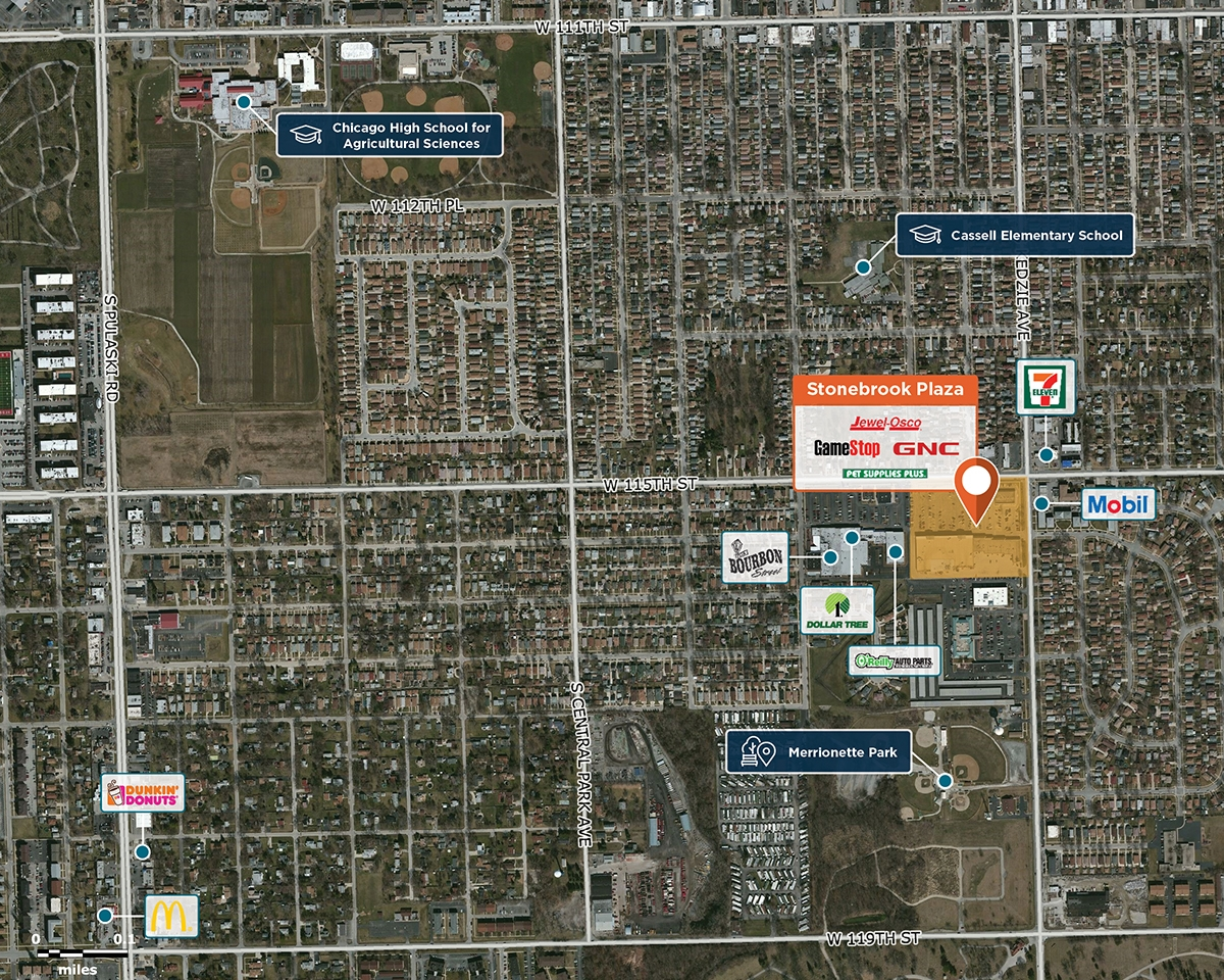 Stonebrook Plaza Trade Area Map for Merrionette Park, IL 60655