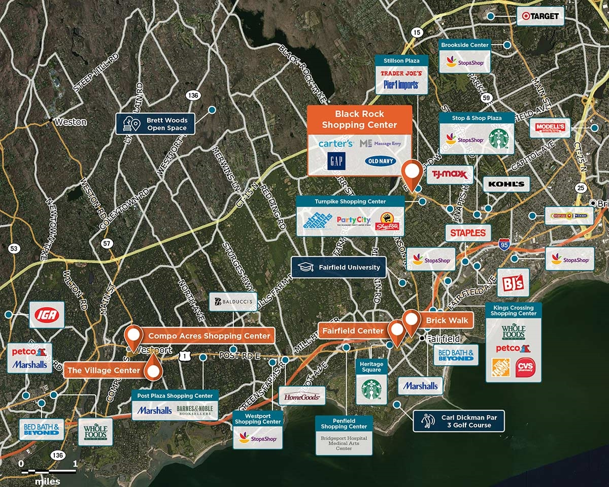 Black Rock Shopping Center Trade Area Map for Fairfield, CT 06825