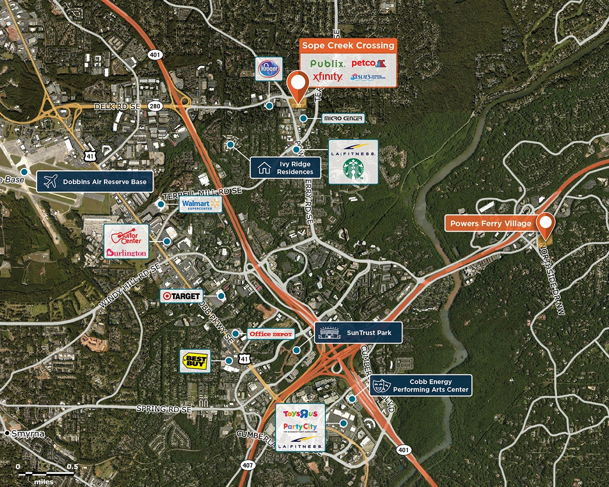 Sope Creek Crossing Trade Area Map for Marietta, GA 30067