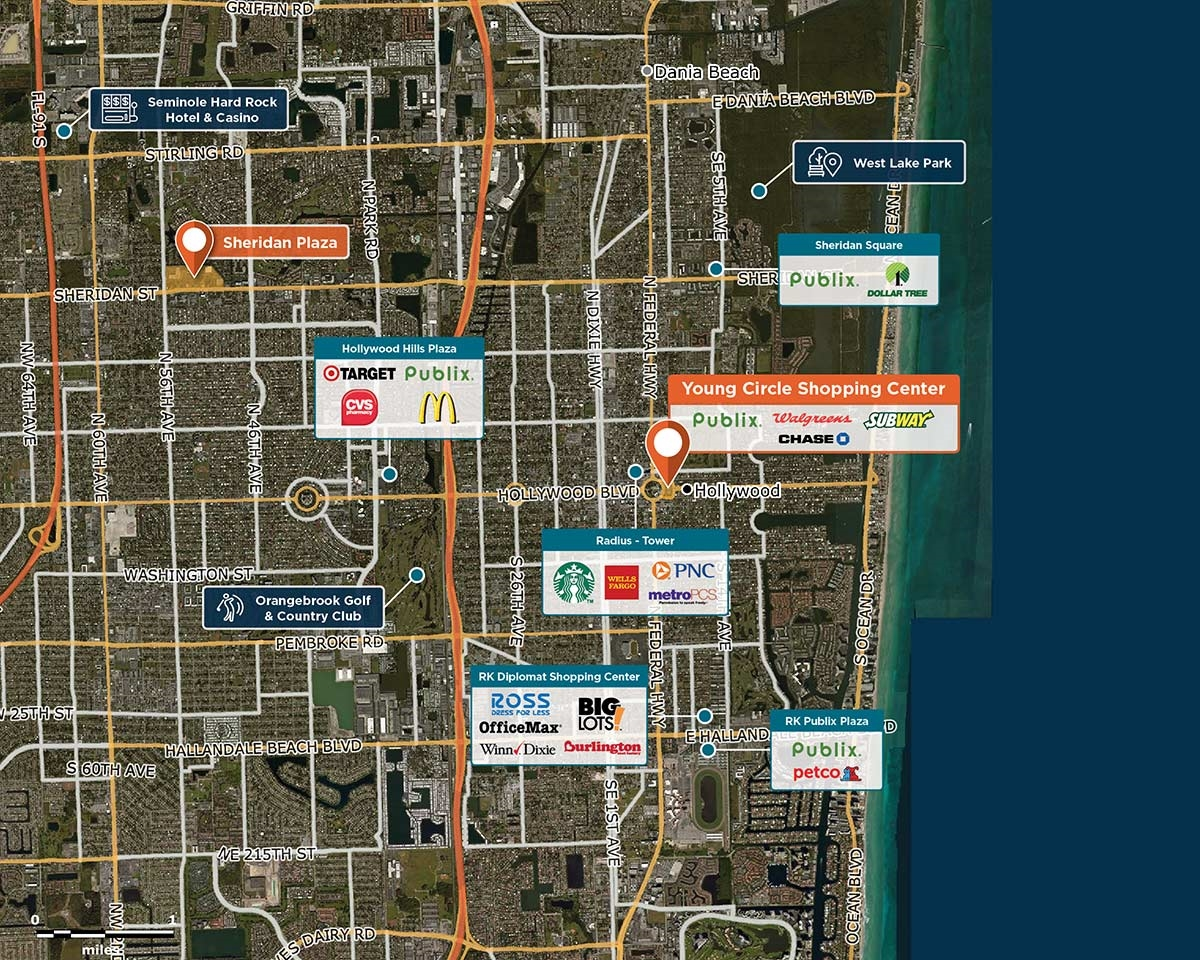 Young Circle Shopping Center Trade Area Map for Hollywood, FL 33020
