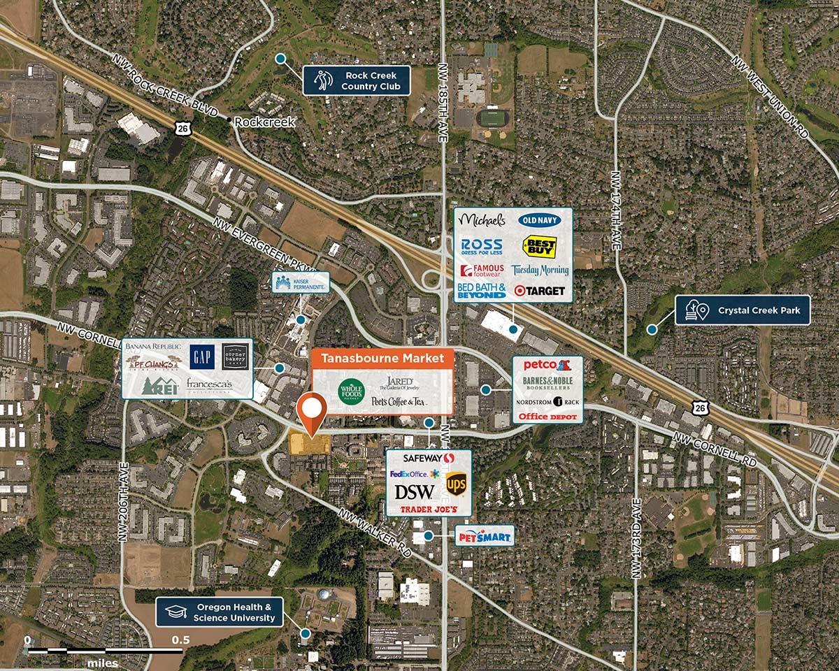 Tanasbourne Market Trade Area Map for Hillsboro, OR 97124