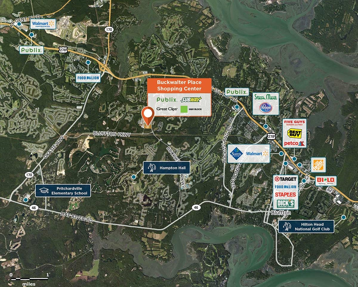 Buckwalter Place Trade Area Map for Bluffton, SC 29910