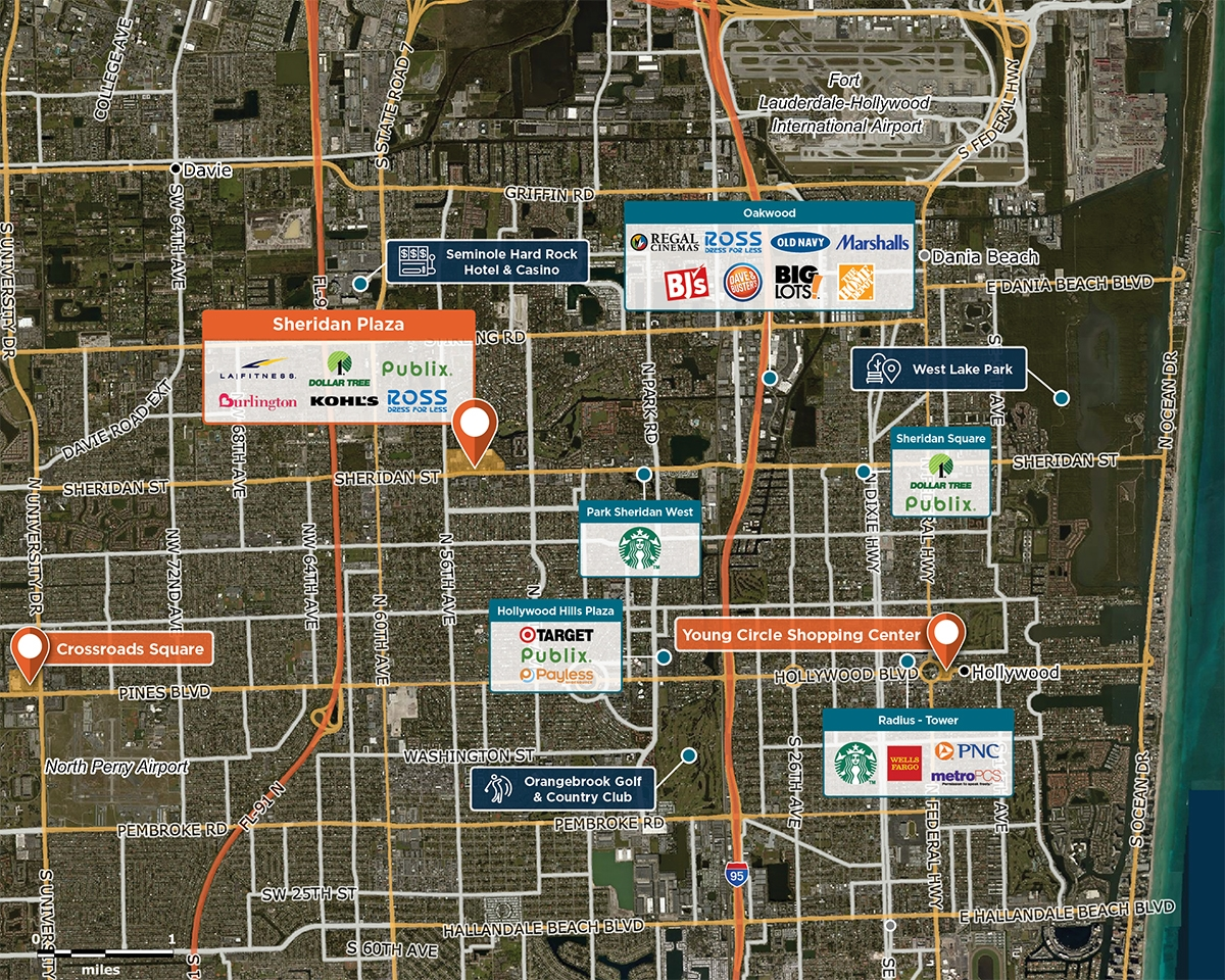 Sheridan Plaza Trade Area Map for Hollywood, FL 33021