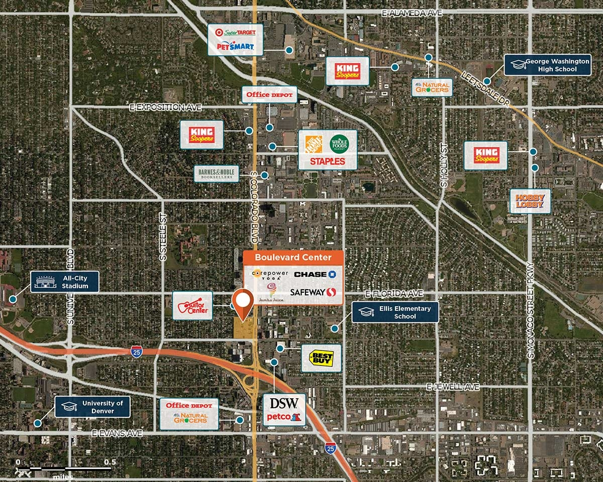 Boulevard Center Trade Area Map for Denver, CO 80222