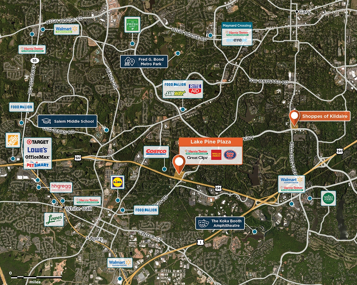 Lake Pine Plaza Trade Area Map for Apex, NC 27502
