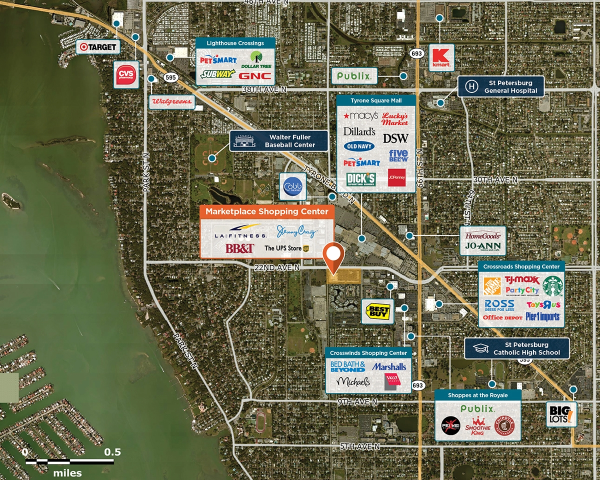 Marketplace Shopping Center Trade Area Map for St. Petersburg, FL 33710
