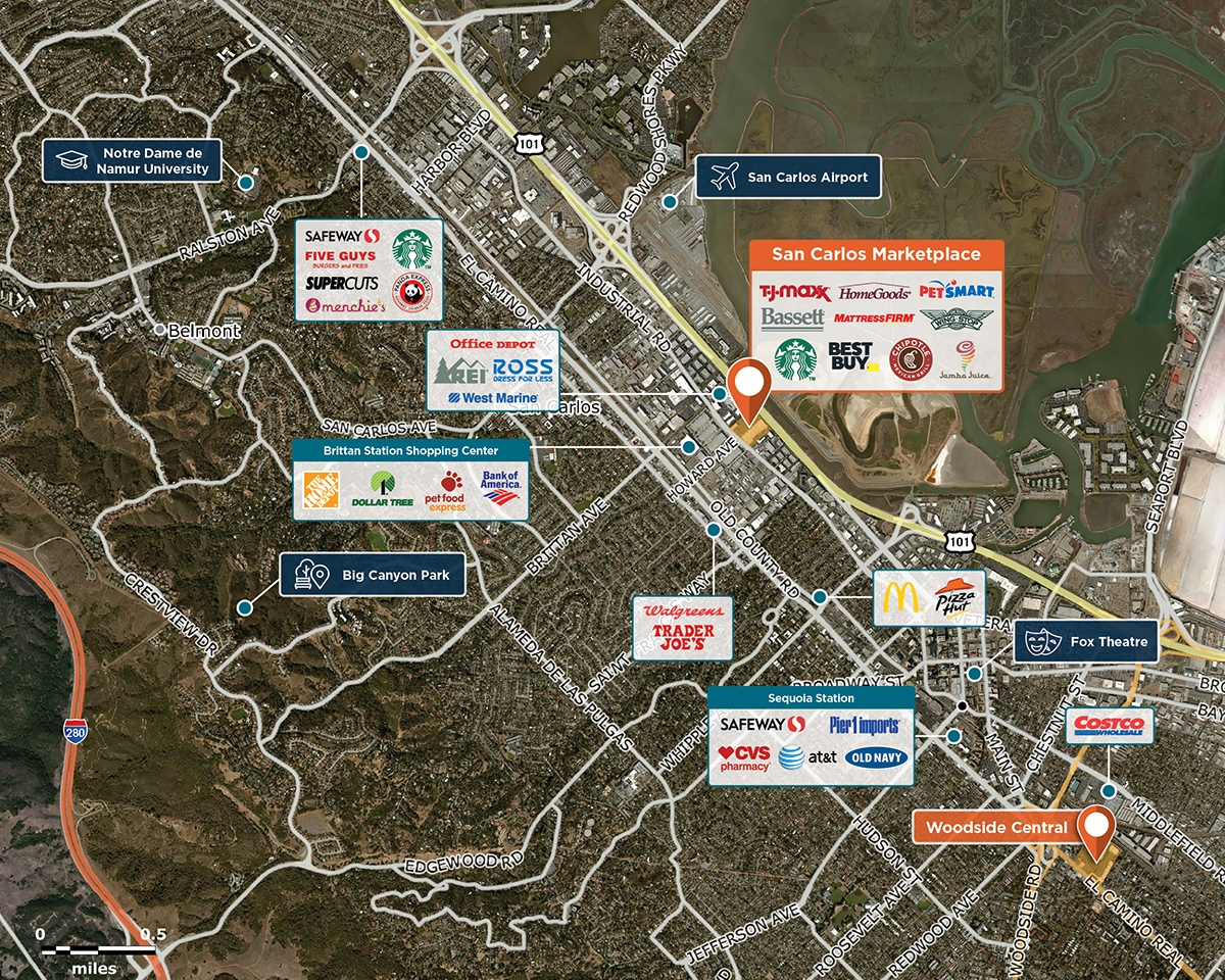 San Carlos Marketplace Trade Area Map for San Carlos, CA 94070