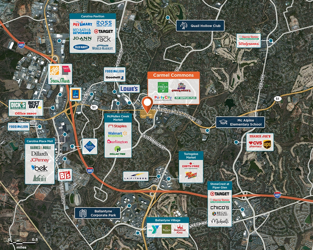 Carmel Commons Trade Area Map for Charlotte, NC 28226