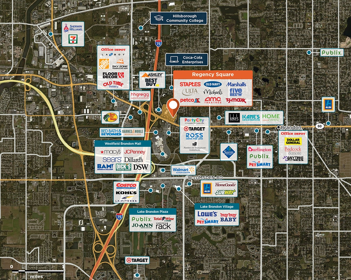 Regency Square Trade Area Map for Brandon, FL 33511