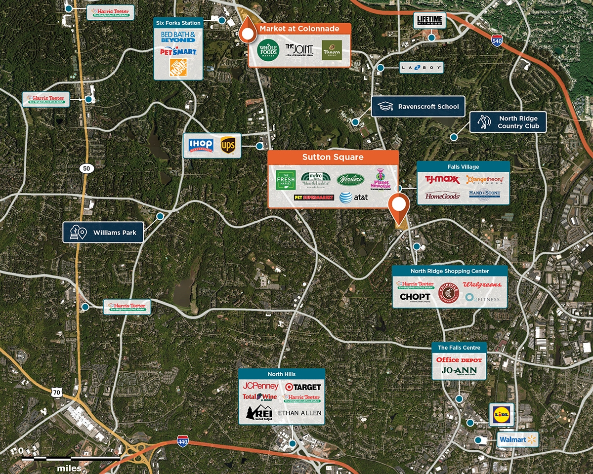 Sutton Square Trade Area Map for Raleigh, NC 27615