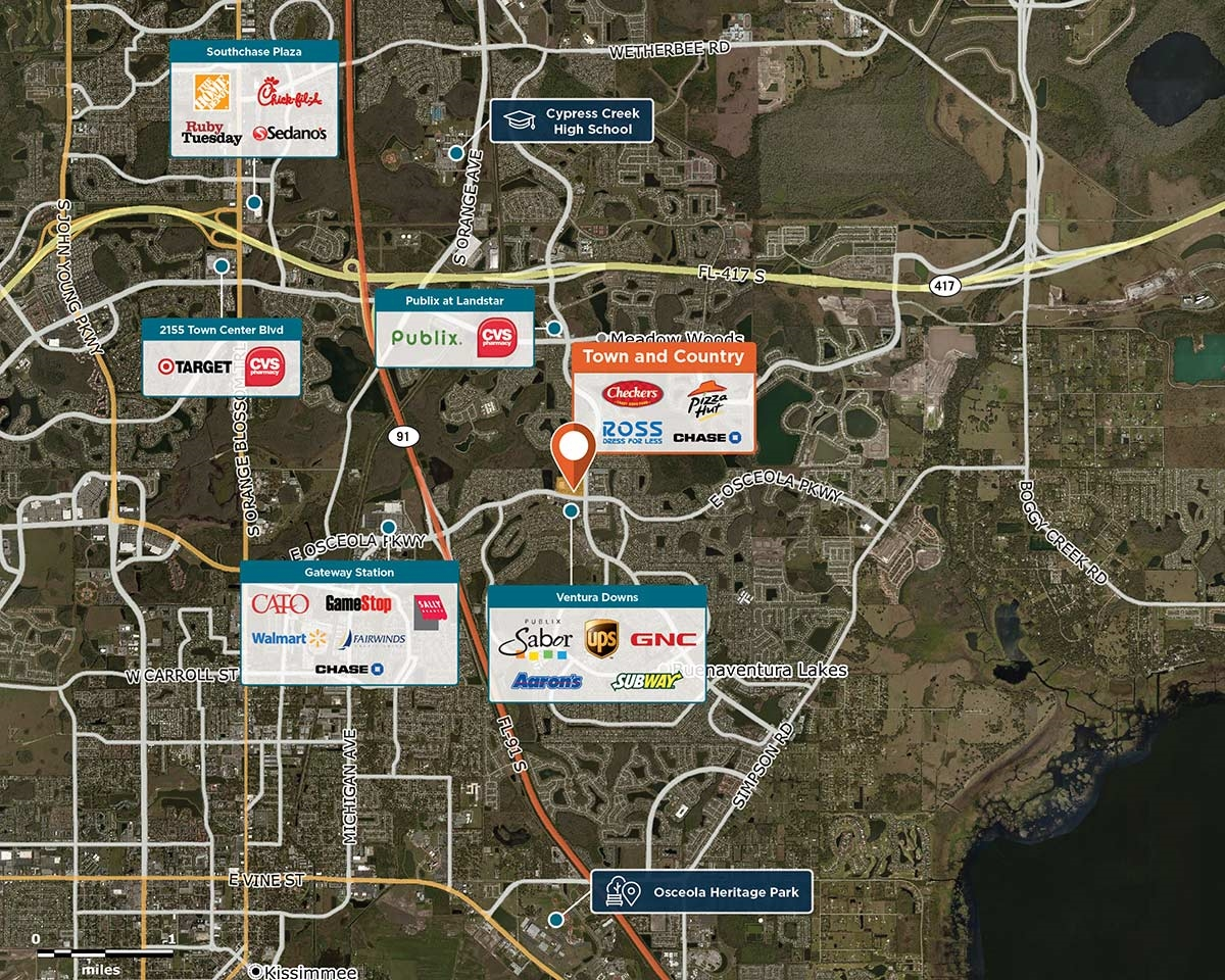 Town and Country Trade Area Map for Kissimmee, FL 34743
