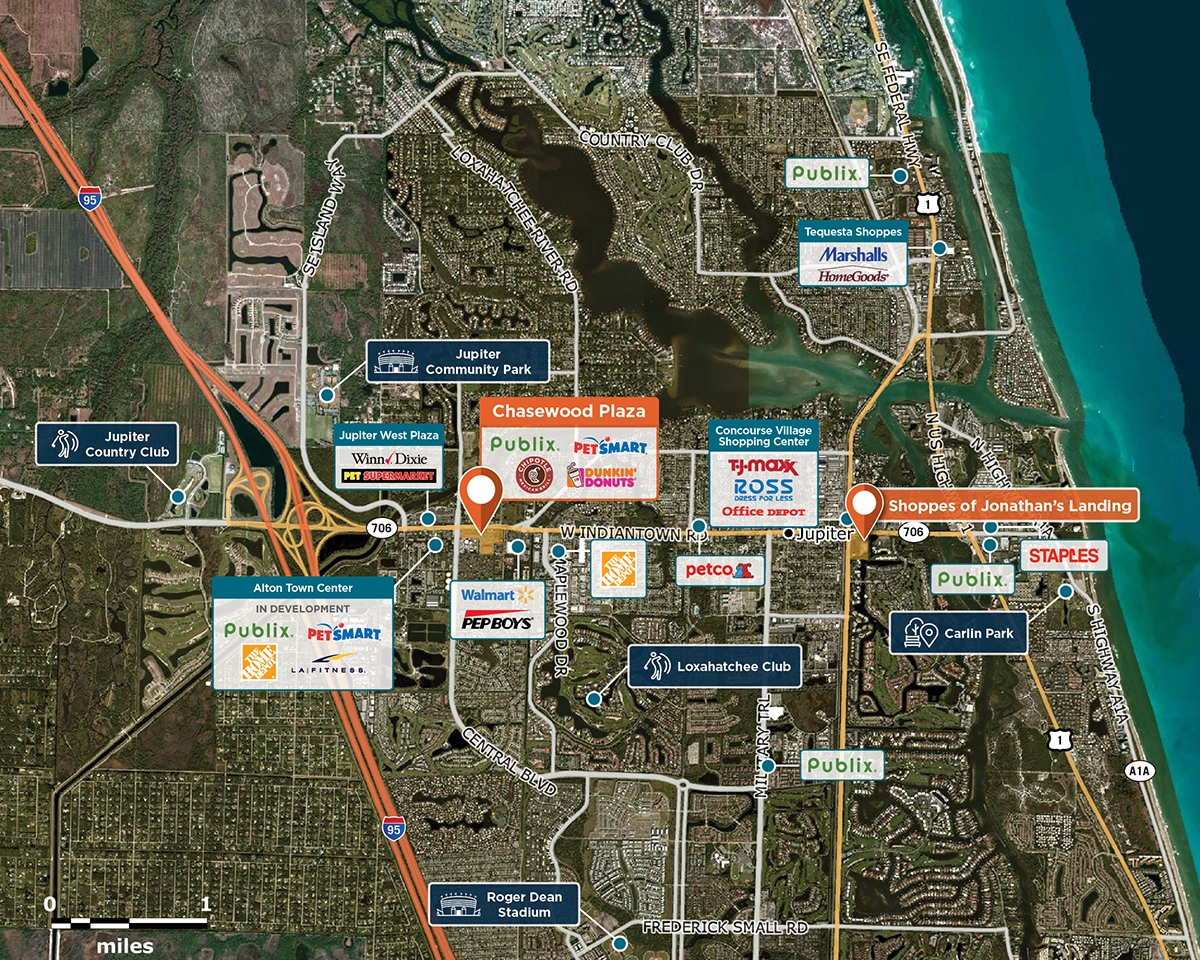 Chasewood Plaza Trade Area Map for Jupiter, FL 33458