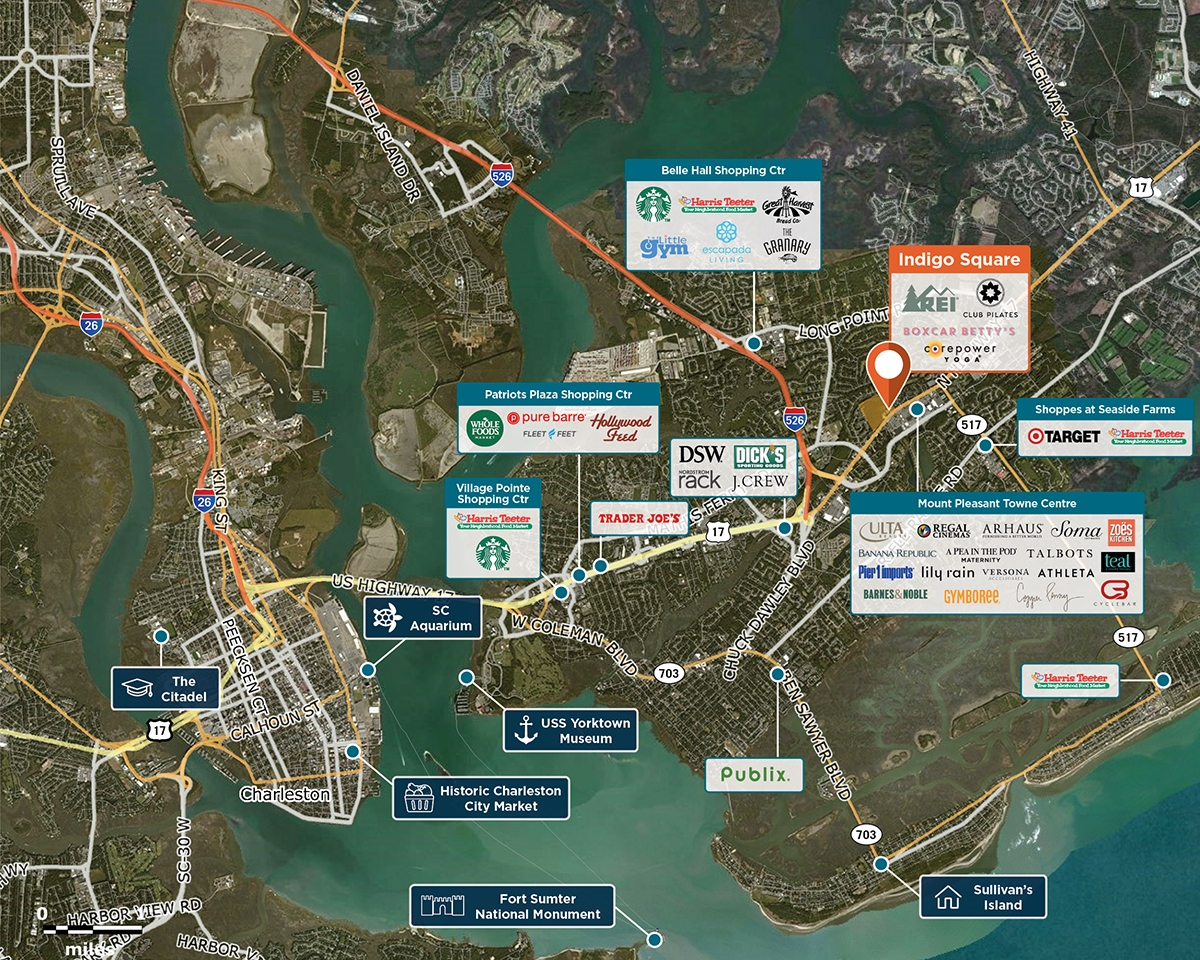Indigo Square Trade Area Map for Mt Pleasant, SC 29464