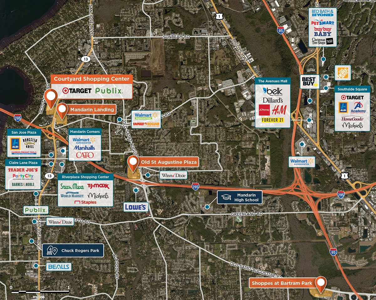 Courtyard Shopping Center Trade Area Map for Jacksonville, FL 32257
