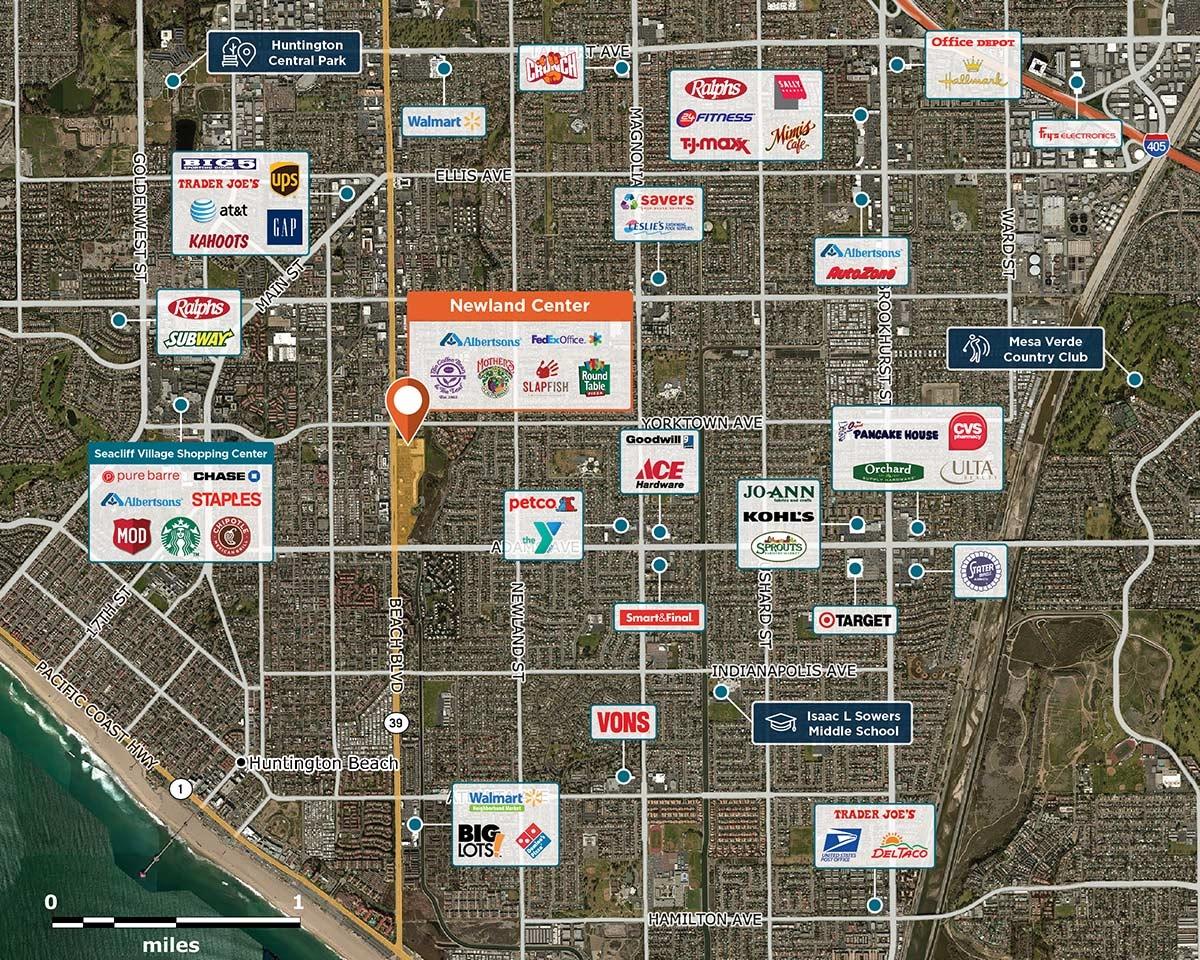 Newland Center Trade Area Map for Huntington Beach, CA  92648