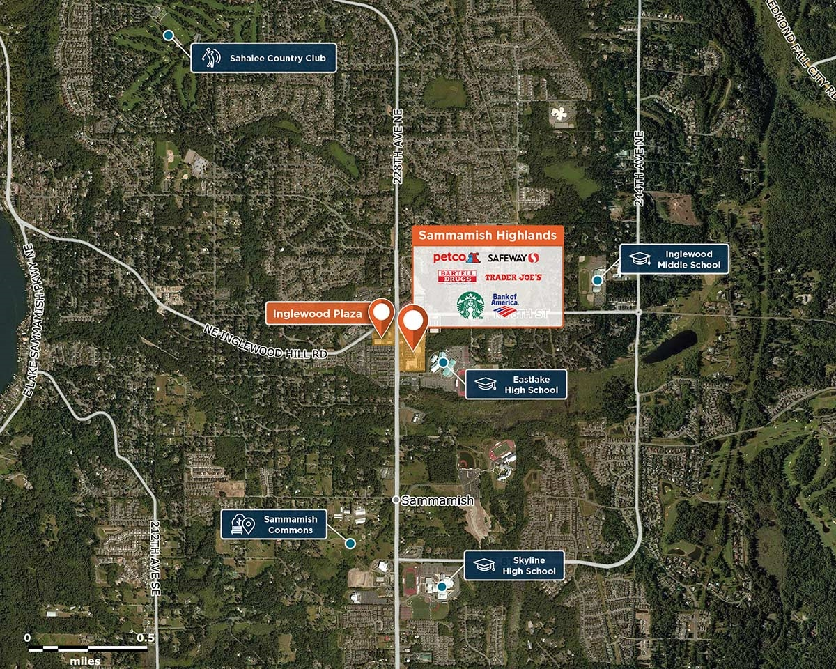 Sammamish Highlands Trade Area Map for Sammamish, WA   98074