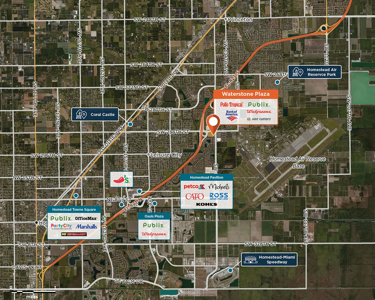Waterstone Plaza Trade Area Map for Homestead, FL 33033