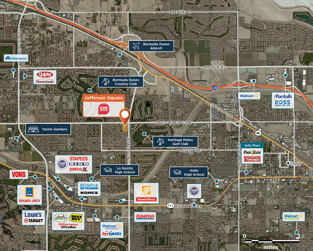 Jefferson Square Trade Area Map for La Quinta, CA  90011