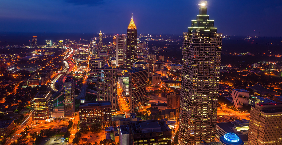 An aerial view of downtown Atlanta.