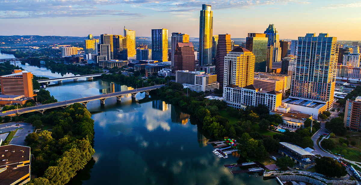 An aerial view of the Austin skyline.