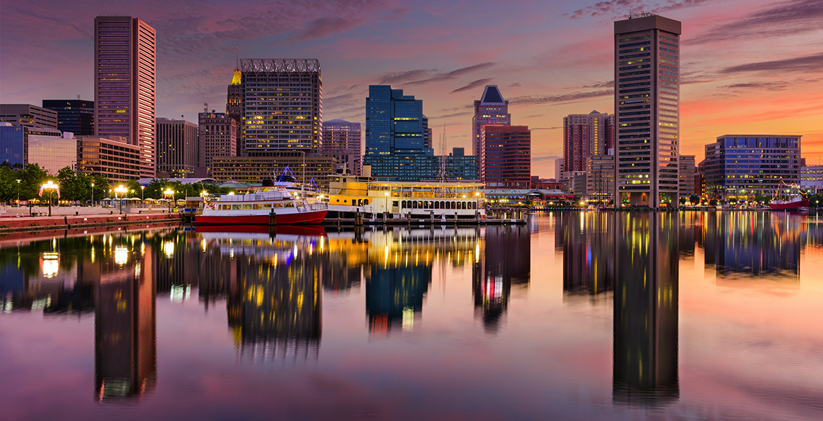 A view of the Baltimore skyline across the Patapsco River.