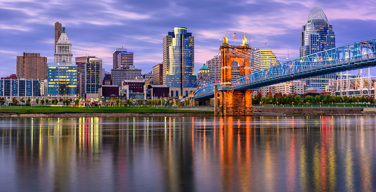A view of the Cincinnati skyline from across the Ohio River.