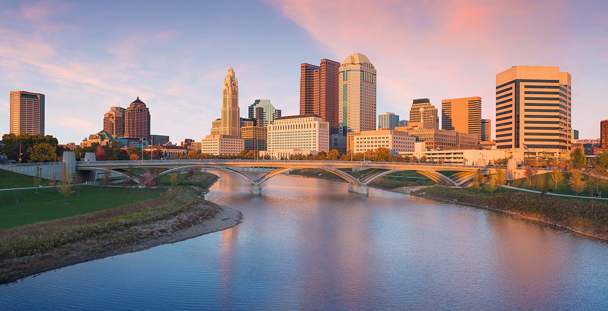 A view of the Columbus skyline over the Scioto River.