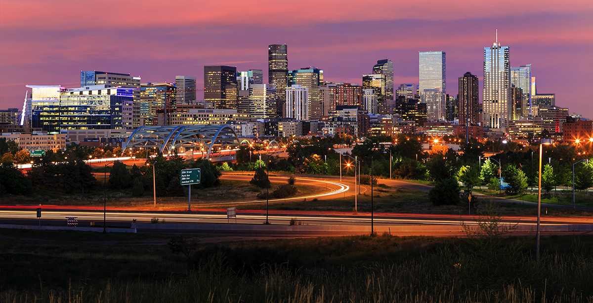 A view of the Denver skyline.