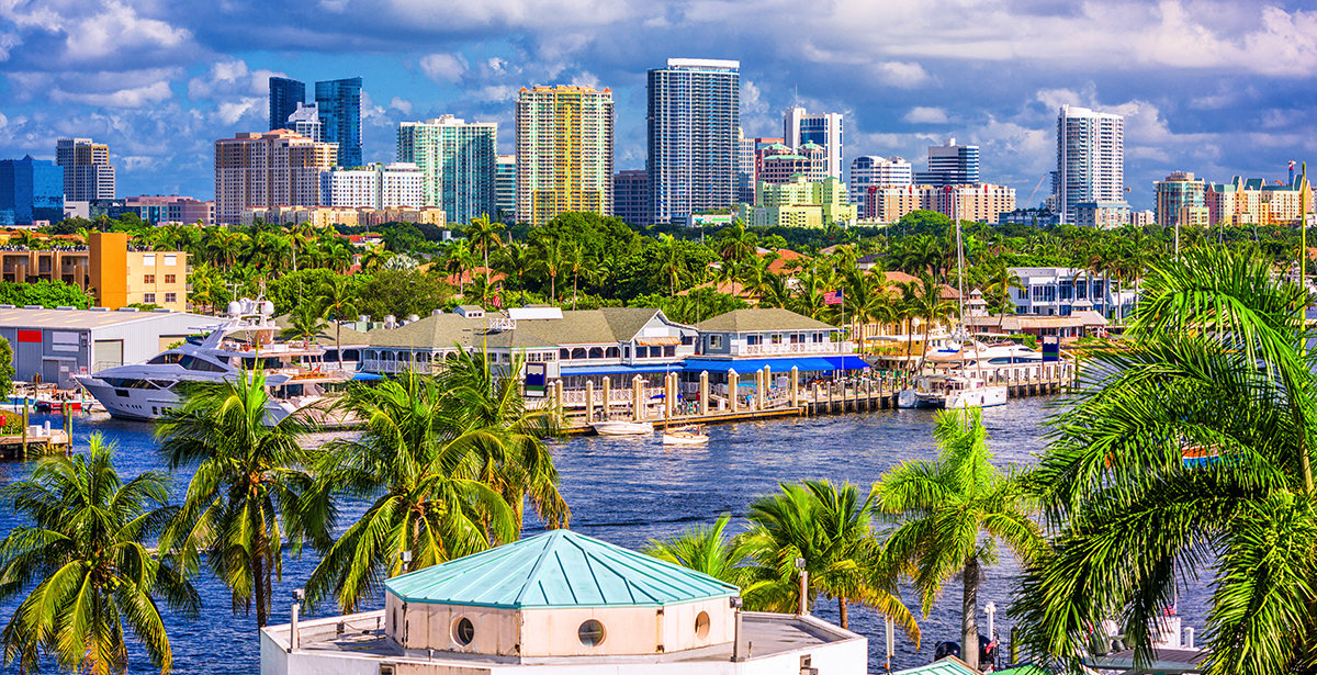 A view of the Fort Lauderdale skyline on a bright, sunny day.