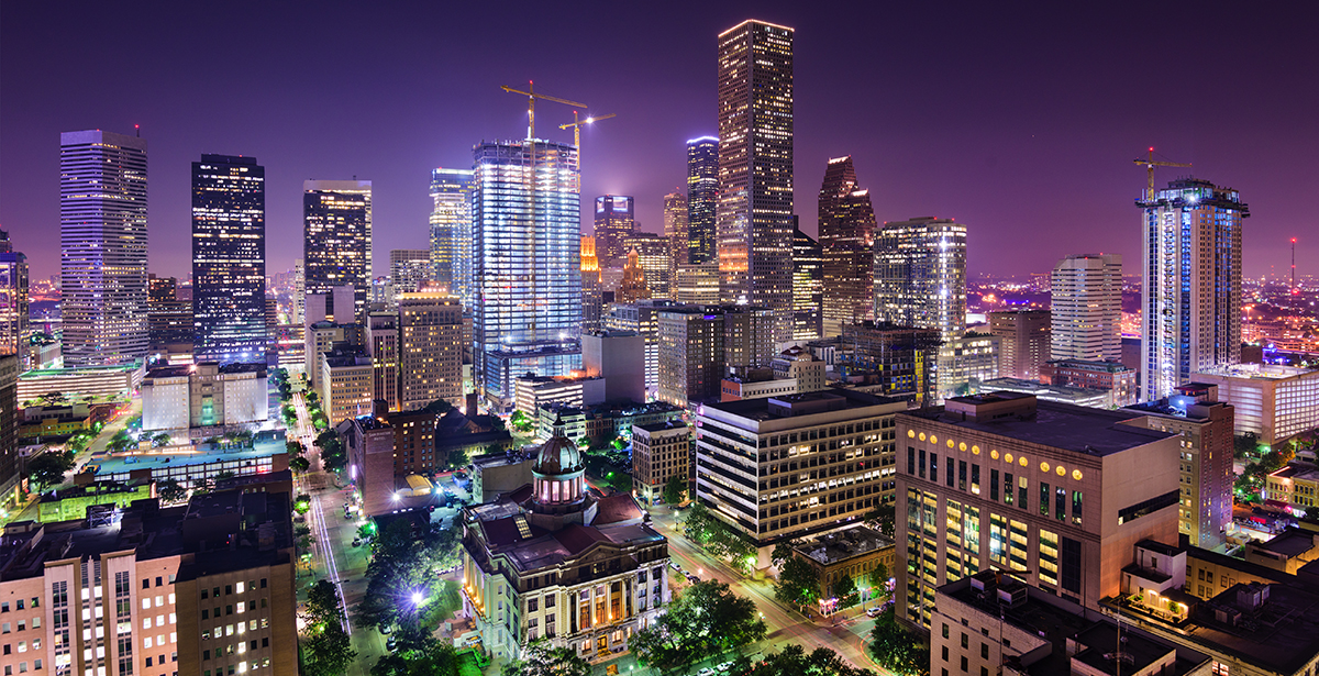 An aerial view of downtown Houston.