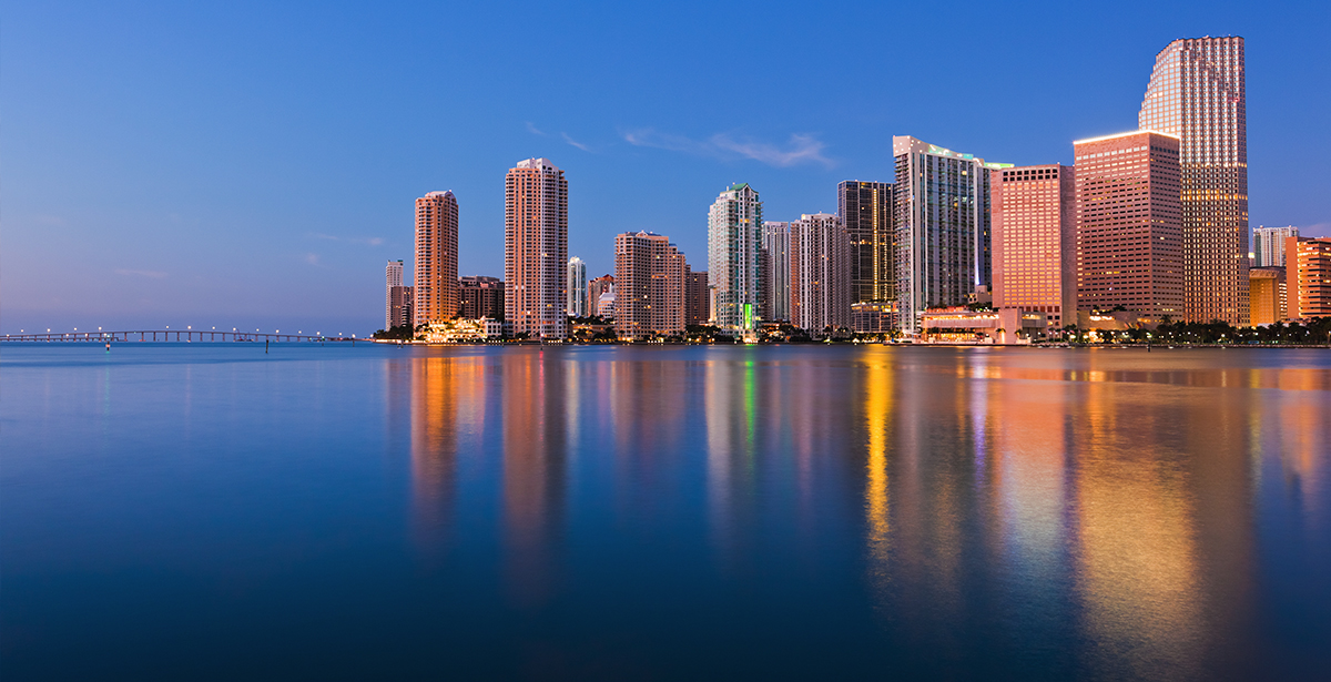 A view of a city skyline from the water in South Florida.