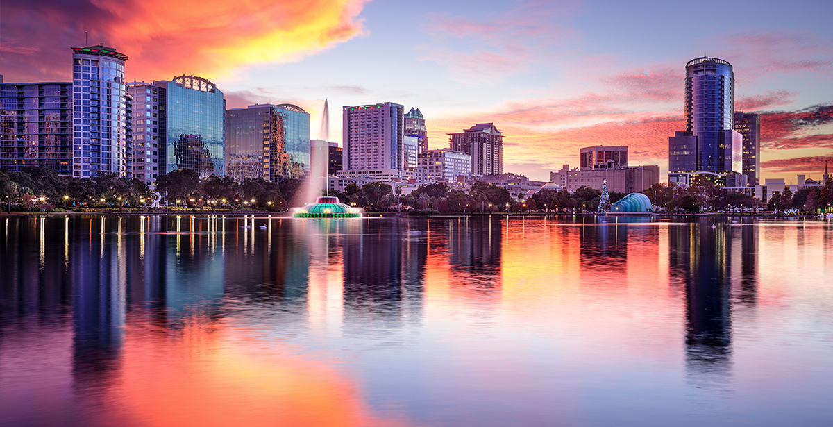 A view of the Orlando skyline from the water.