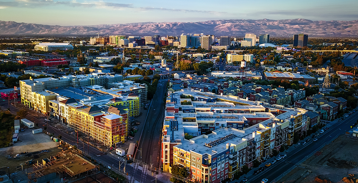An aerial view of downtown San Jose.