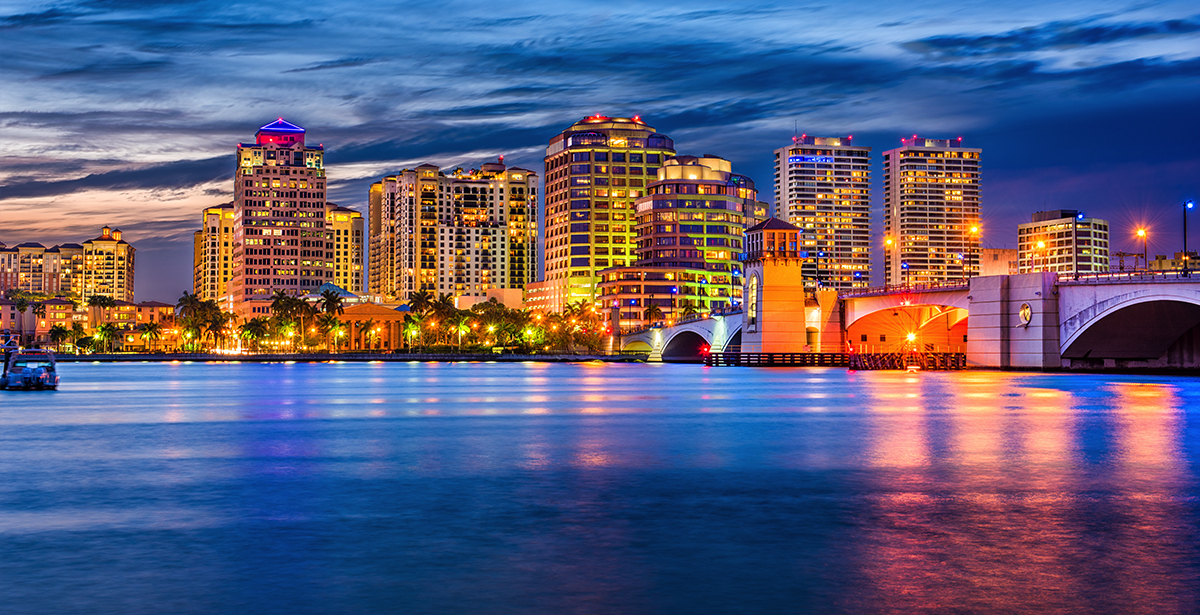 A view of the West Palm Beach skyline from the water.