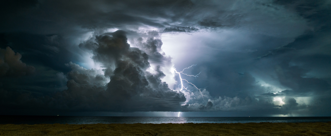 Photograph of storm clouds and lightning