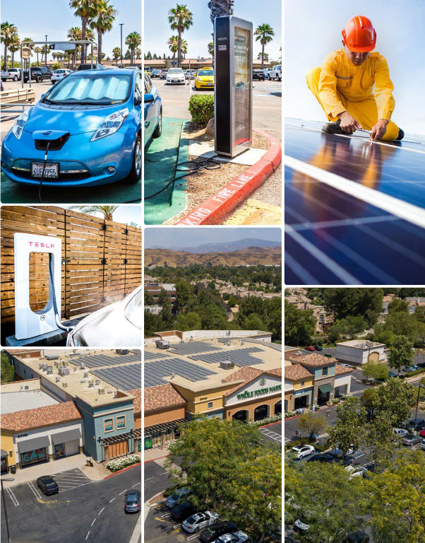 Collage of images showing solar roof panels and electric vehicle charging stations.