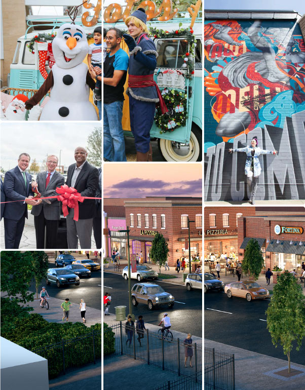 Collage of images including a Frozen event, painted mural, ribbon cutting, and rendering of a new development.