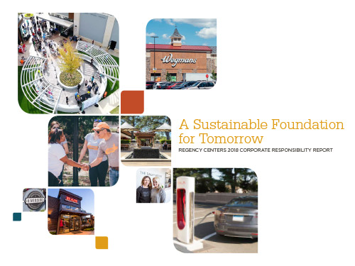 PDF cover that says A Sustainable Foundation for Tomorrow Regency Centers 2018 Corporate Responsibility Report with the Regency Centers logo next to a collage of photos showing a group of Regency Employes and CEO shaking hands, a new Wegmans, a new Dailey Method, a new RAM, a Tesla supercharger, the outside of a Regency shopping center and an aerial view of another Regency shopping center.
