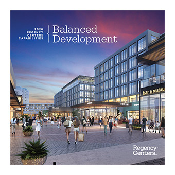 PDF cover page with the words Balanced Development and the Regency logo over the image of a shopping center rendering with people shopping.