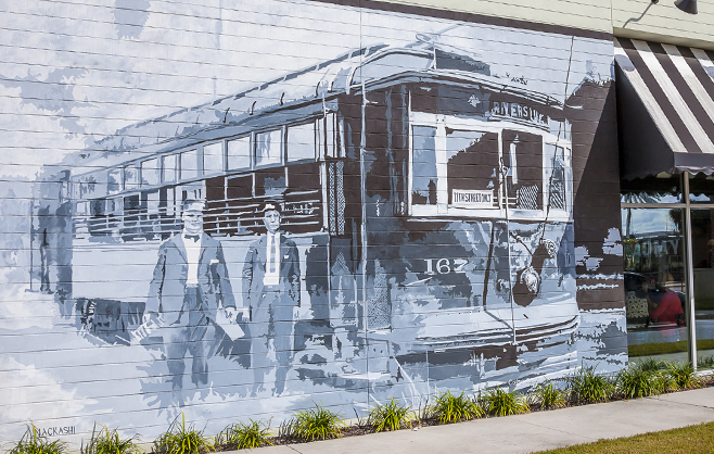 Streetcar Mural at Brooklyn Station on Riverside