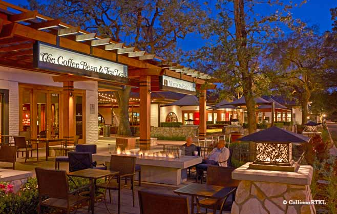 Westlake Plaza Outdoor Space at Night
