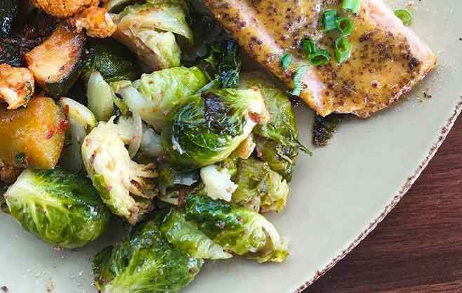Fish and Brussels Sprouts Dish